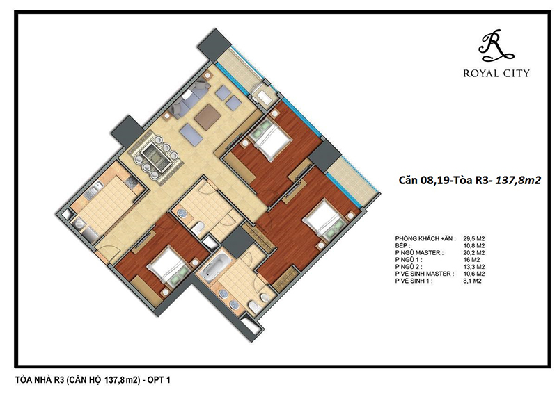 Sơ đồ mặt bằng căn số 08 và 19 tòa R3 Royal City